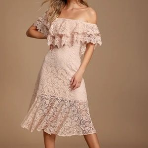 Jaclyn Blush Pink Lace Off-the-Shoulder Midi Dress